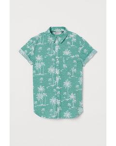 Hemd Hellgrün/Palmen