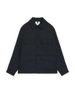 Wool Workwear Overshirt Dark Blue