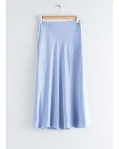 Satin A-line Midi Skirt Blue