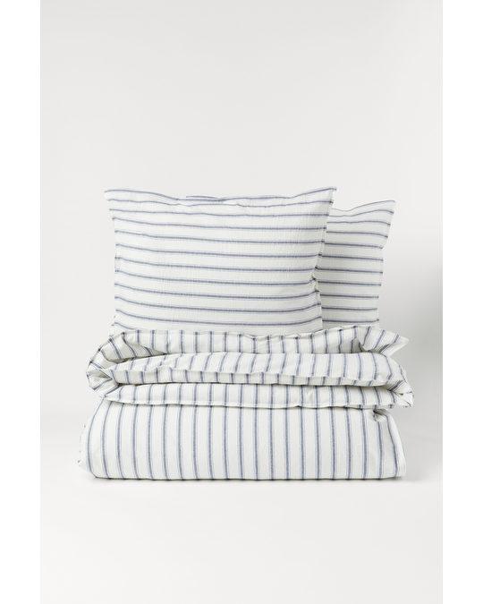 H&M HOME Cotton Duvet Cover Set White/blue Striped