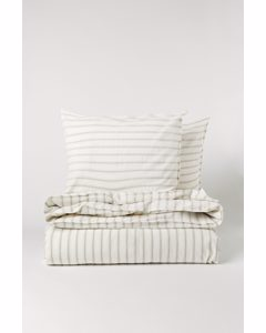 Cotton Duvet Cover Set White/beige Striped