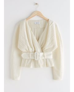 Belted Textured Wrap Blouse Creme