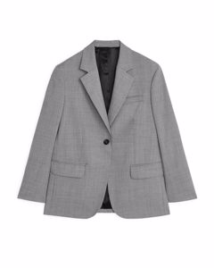 Oversized Wool Hopsack Blazer Grey Melange