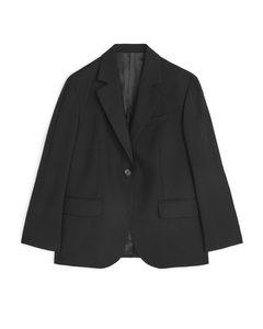 Oversized Wool Hopsack Blazer Black