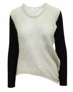 Light Grey And Black Sweater With Long Back