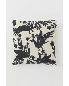 Broderat Kuddfodral Ljusbeige/fåglar