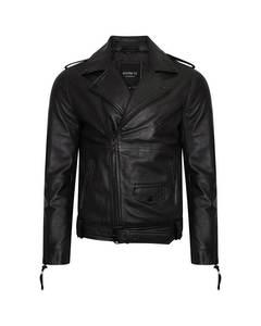 Men's Grainy Real Leather Asymmetric Biker Jacket In Matte Black