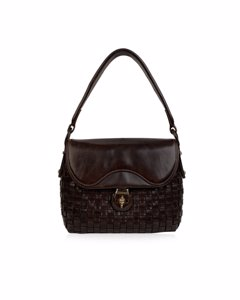 Gucci Vintage Brown Woven Leather Rare Handbag Top Handle Bag