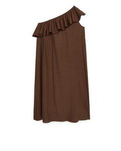 One-Shoulder-Kleid aus Lyocell Braun
