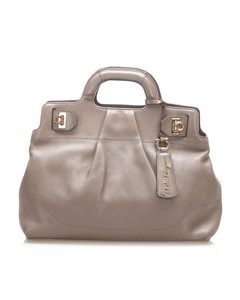 Ferragamo Gancini Leather Handbag Gray