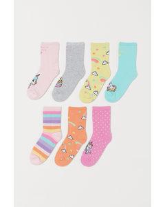 7er-Pack Socken Rosa/Einhörner