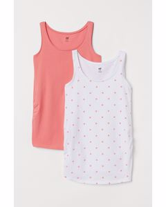 MAMA 2-pack jersey vest tops White/Coral