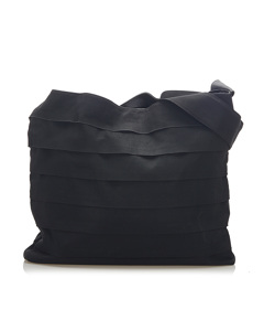 Ferragamo Tiered Grosgrain Shoulder Bag Black