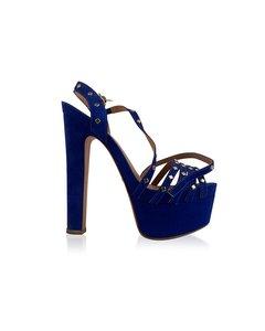 Schutz Blue Suede High Heels Sandals With Studs Size 39