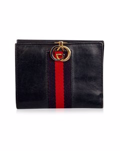 Gucci Vintage Blue Leather Medium Compact Wallet With Stripes