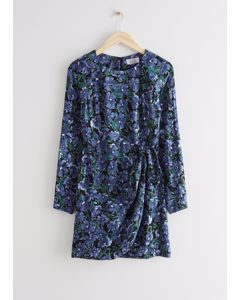 Floral Print Mini Dress Blue Florals