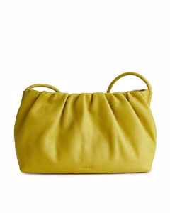 Ruched Leather Crossbody Bag Yellow