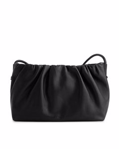 Ruched Leather Crossbody Bag Black