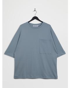 Oversized 3/4-sleeve Pocket T-shirt Blue