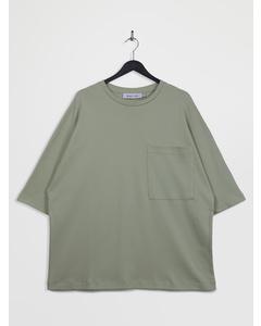 Oversized 3/4-sleeve Pocket T-shirt Lightgreen