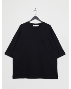 Oversized 3/4-sleeve Pocket T-shirt Black