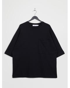 Oversized 3/4-sleeve Pocket T-shirt Black