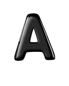 Anhänger, 925 Silber, schwarz beschichtet, Alphabet - Buchstabe A