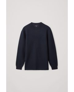 Merino Wool Jumper With Leather Detail Navy