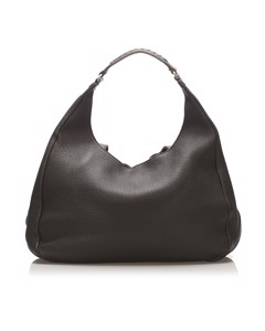 Bottega Veneta Campana Leather Hobo Bag Brown