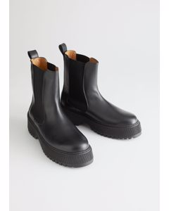 Chunky Leather Chelsea Boots Black