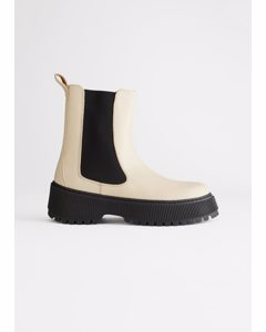 Chunky Leather Chelsea Boots Light Beige