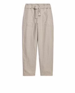 Paperbag Linen Trousers Beige