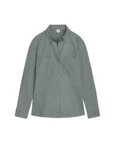 Open Collar Shirt Greyish Green