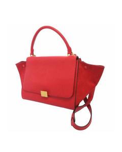 Celine Trapeze Leather Satchel Red