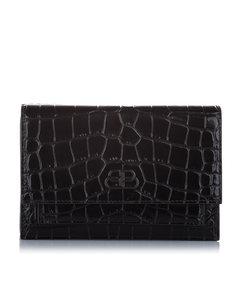 Balenciaga Croc Embossed Sharp Leather Shoulder Bag Black