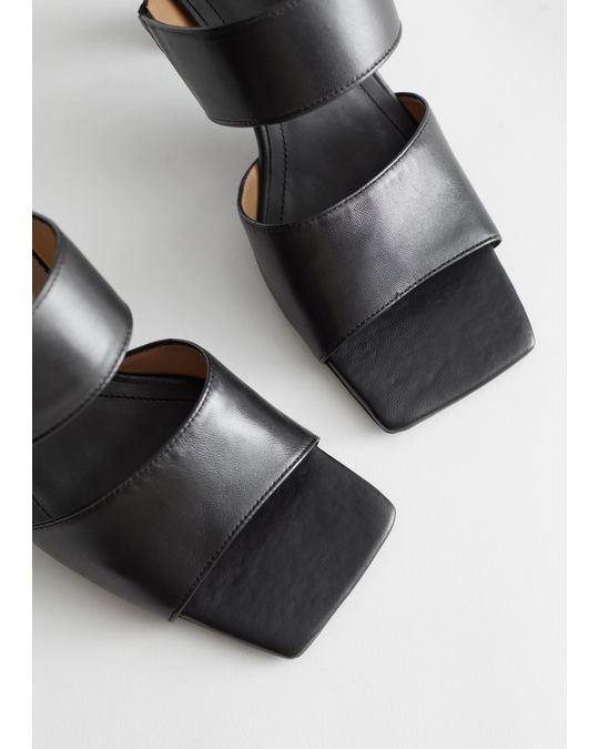 & Other Stories Leather Flared Heel Sandalettes Black