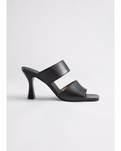 Leather Flared Heel Sandalettes Black