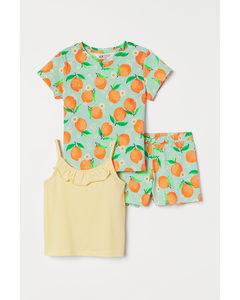 Driedelige Katoenen Set Lichtgeel/sinaasappels