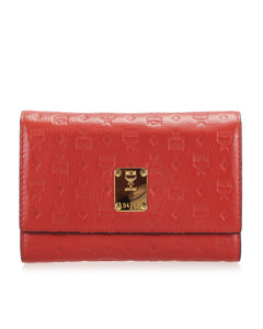 Mcm Visetos Leather Wallet Red