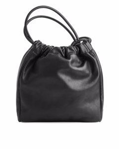 Soft Leather Bucket Bag Black