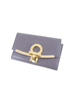 Ferragamo Gancini Leather Key Holder Gray