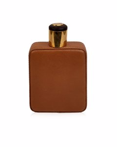 Gucci Vintage Glass And Tan Leather Hip Flask Bottle