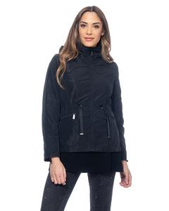 Jacket With Strings, Hood, Elastic Waist And Back Tacks