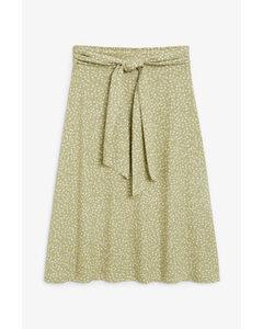 Tie-waist Midi Skirt Green Floral Print