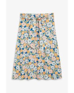 Tie-waist Midi Skirt Bold Flower Print