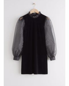 Organza Sleeve Velvet Mini Dress Black