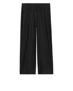 Wide Jersey Trousers Black