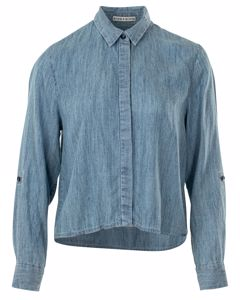 Cropped Denim Long Sleeved Shirt