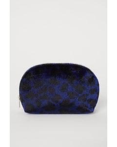 Makeup-väska I Fuskpäls Mörkblå/leopardmönstrad