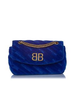 Balenciaga Bb Suede Crossbody Bag Blue